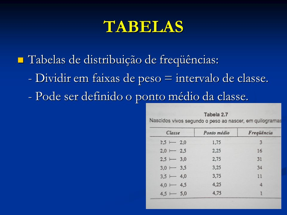 TABELAS Tabelas de distribuição de freqüências: