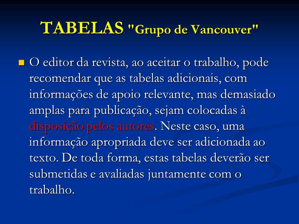 TABELAS Grupo de Vancouver