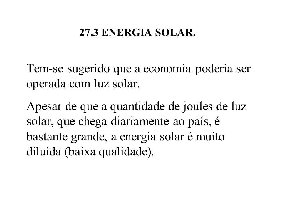 Tem-se sugerido que a economia poderia ser operada com luz solar.