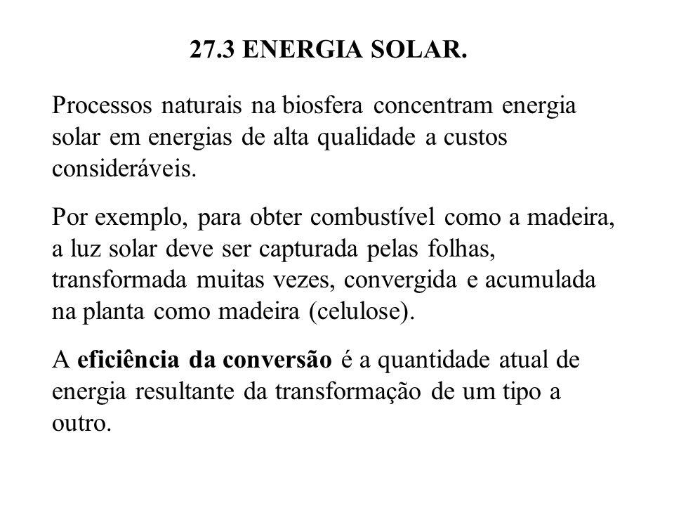 27.3 ENERGIA SOLAR. Processos naturais na biosfera concentram energia solar em energias de alta qualidade a custos consideráveis.