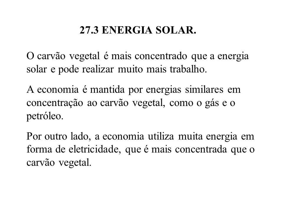 27.3 ENERGIA SOLAR. O carvão vegetal é mais concentrado que a energia solar e pode realizar muito mais trabalho.