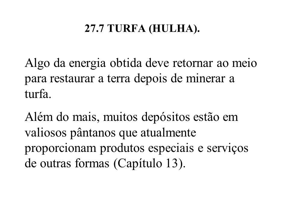 27.7 TURFA (HULHA). Algo da energia obtida deve retornar ao meio para restaurar a terra depois de minerar a turfa.