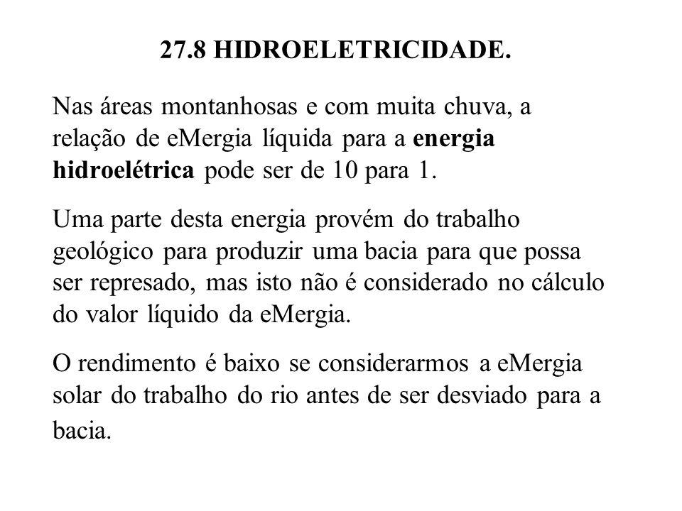 27.8 HIDROELETRICIDADE. Nas áreas montanhosas e com muita chuva, a relação de eMergia líquida para a energia hidroelétrica pode ser de 10 para 1.