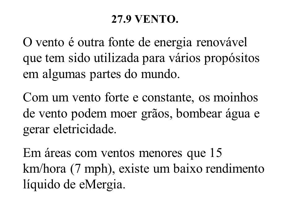 27.9 VENTO. O vento é outra fonte de energia renovável que tem sido utilizada para vários propósitos em algumas partes do mundo.