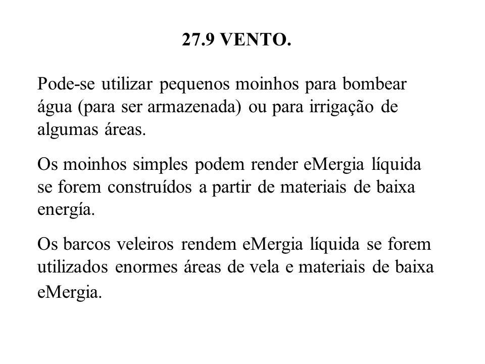 27.9 VENTO. Pode-se utilizar pequenos moinhos para bombear água (para ser armazenada) ou para irrigação de algumas áreas.