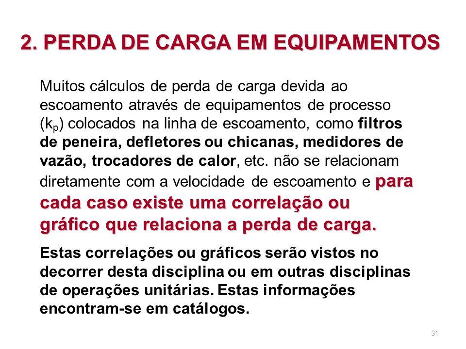 2. PERDA DE CARGA EM EQUIPAMENTOS