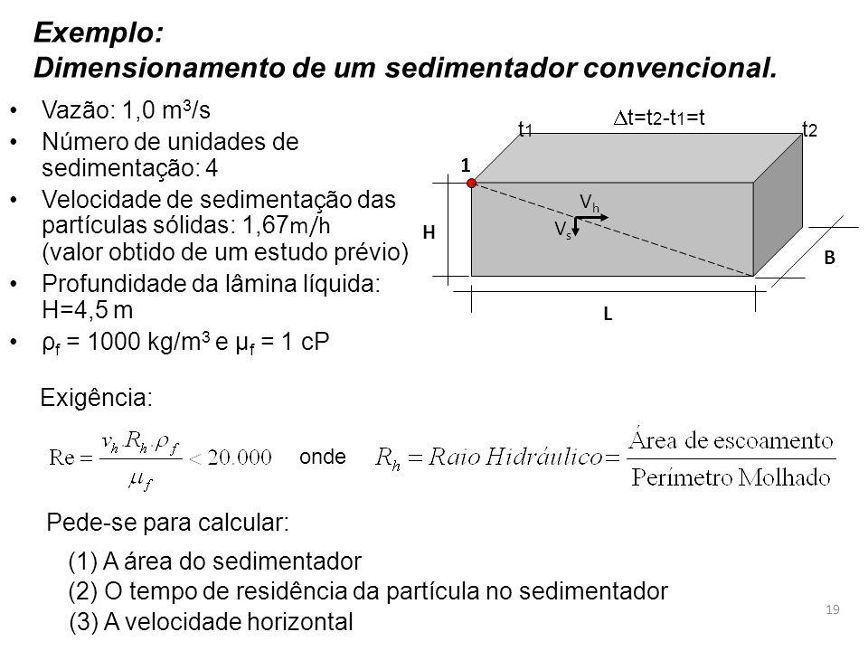 Dimensionamento de um sedimentador convencional.