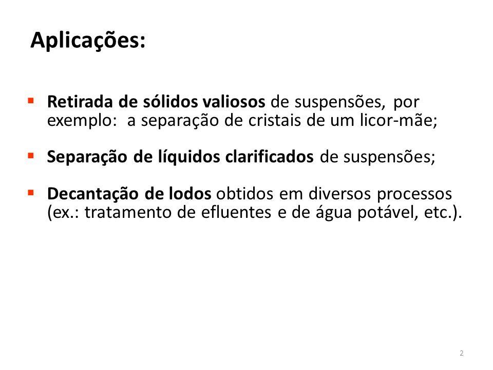 Aplicações: Retirada de sólidos valiosos de suspensões, por exemplo: a separação de cristais de um licor-mãe;