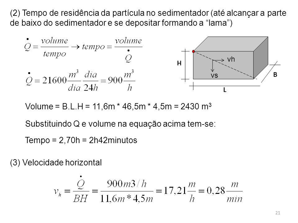 Substituindo Q e volume na equação acima tem-se: