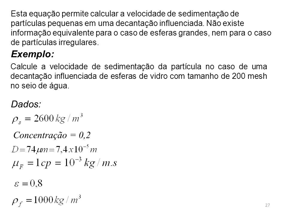 Exemplo: Dados: Concentração = 0,2