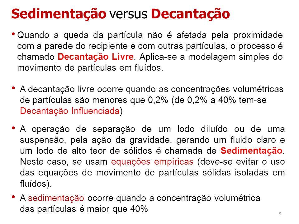 Sedimentação versus Decantação