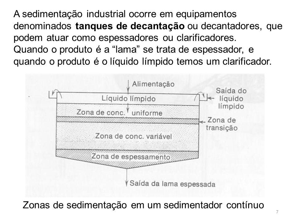 A sedimentação industrial ocorre em equipamentos denominados tanques de decantação ou decantadores, que podem atuar como espessadores ou clarificadores.