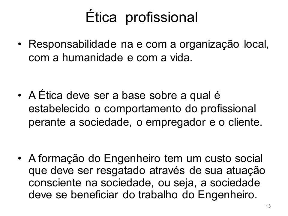 Ética profissional Responsabilidade na e com a organização local, com a humanidade e com a vida.