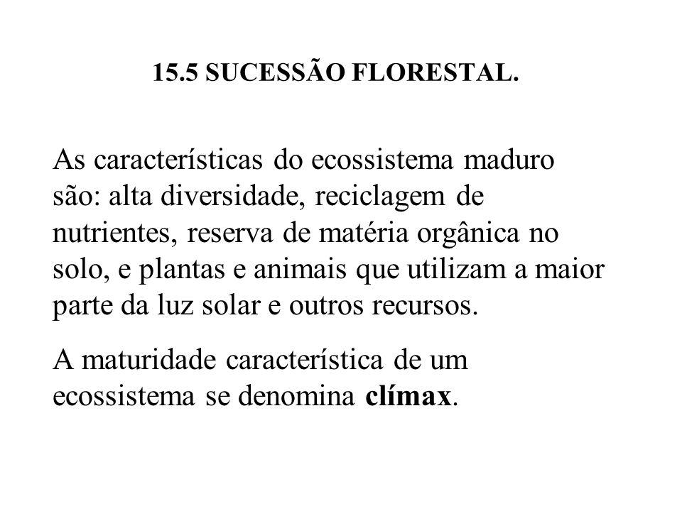 A maturidade característica de um ecossistema se denomina clímax.