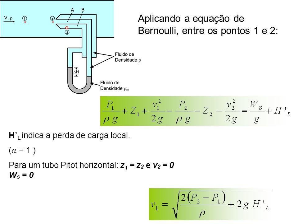 Aplicando a equação de Bernoulli, entre os pontos 1 e 2: