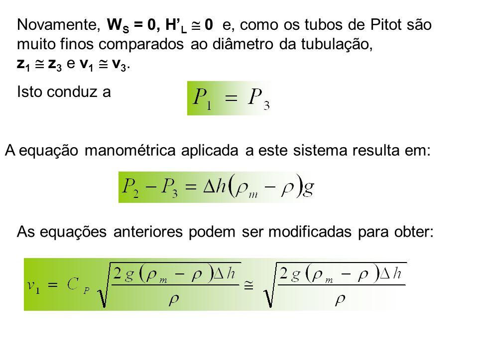 Novamente, WS = 0, H'L  0 e, como os tubos de Pitot são muito finos comparados ao diâmetro da tubulação, z1  z3 e v1  v3.