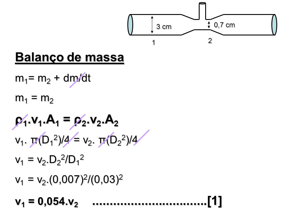 Balanço de massa ρ1.v1.A1 = ρ2.v2.A2 m1= m2 + dm/dt m1 = m2