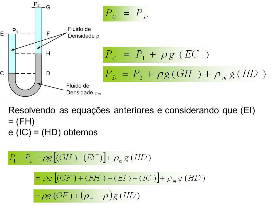 Resolvendo as equações anteriores e considerando que (EI) = (FH) e (IC) = (HD) obtemos