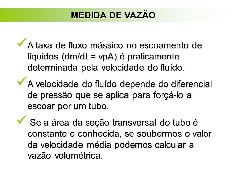 MEDIDA DE VAZÃO A taxa de fluxo mássico no escoamento de líquidos (dm/dt = vρA) é praticamente determinada pela velocidade do fluído.