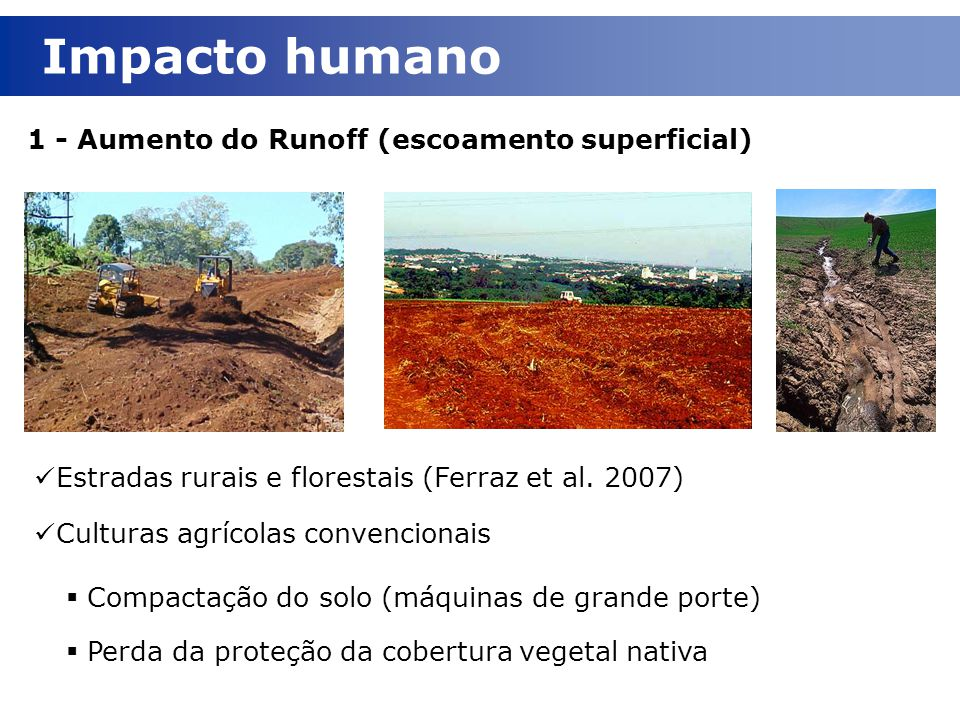 Impacto humano 1 - Aumento do Runoff (escoamento superficial)