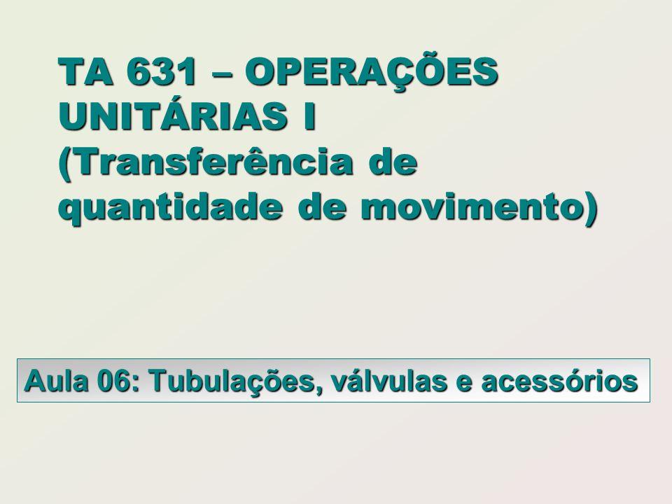 Aula 06: Tubulações, válvulas e acessórios