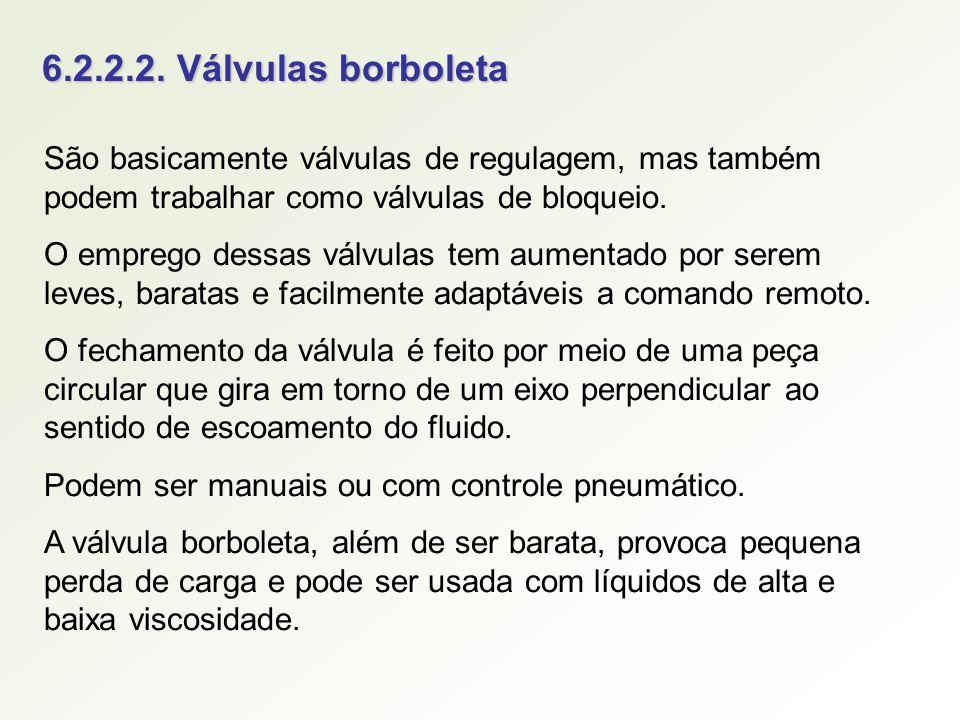 6.2.2.2. Válvulas borboleta São basicamente válvulas de regulagem, mas também podem trabalhar como válvulas de bloqueio.