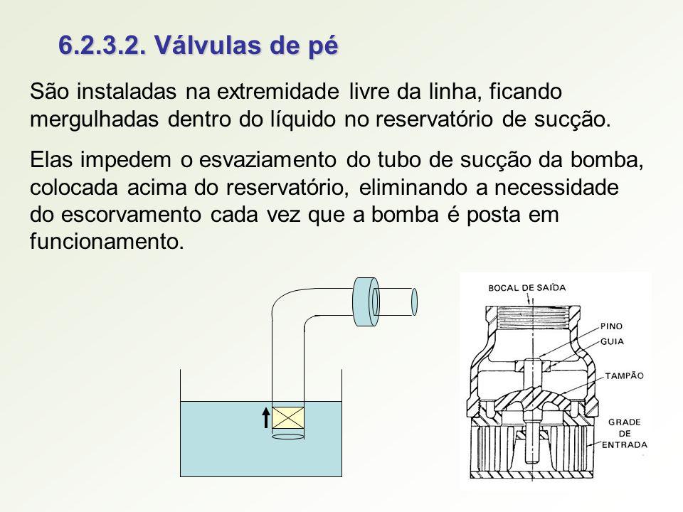6.2.3.2. Válvulas de pé São instaladas na extremidade livre da linha, ficando mergulhadas dentro do líquido no reservatório de sucção.