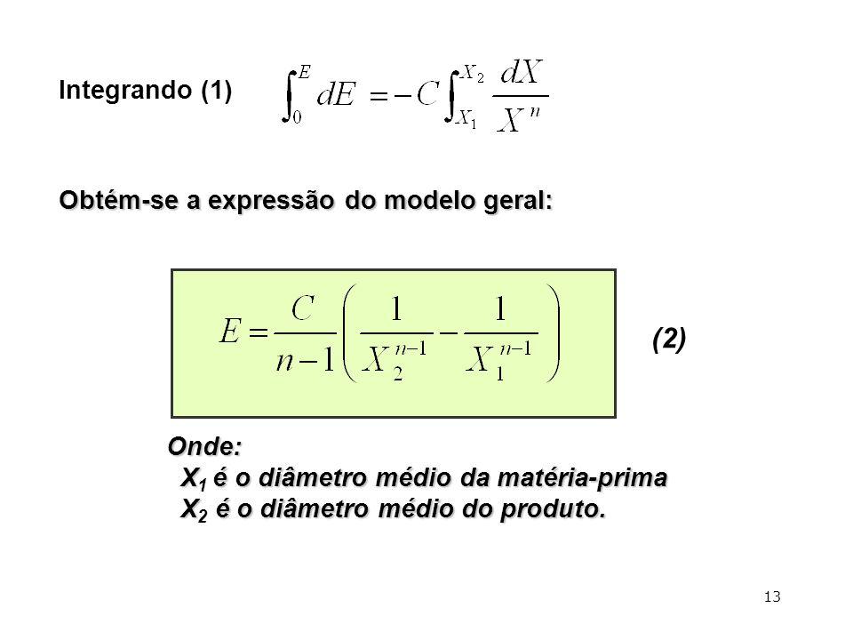 (2) Integrando (1) Obtém-se a expressão do modelo geral: Onde:
