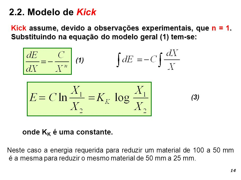 2.2. Modelo de Kick Kick assume, devido a observações experimentais, que n = 1. Substituindo na equação do modelo geral (1) tem-se: