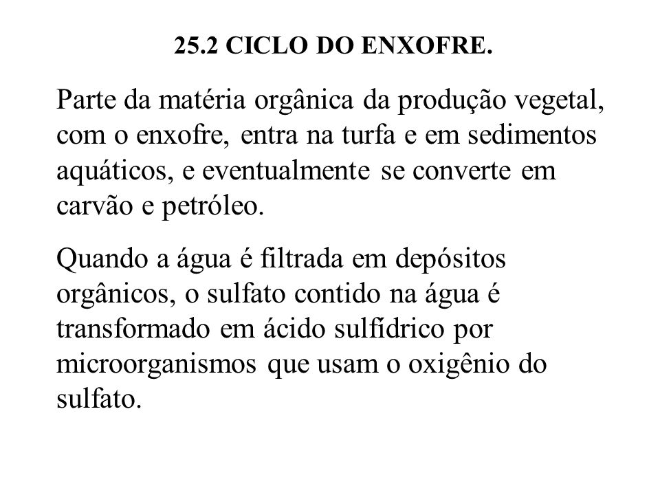 25.2 CICLO DO ENXOFRE.