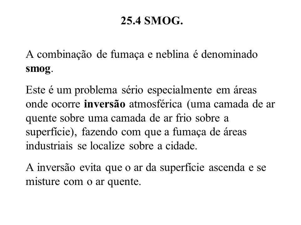 25.4 SMOG. A combinação de fumaça e neblina é denominado smog.