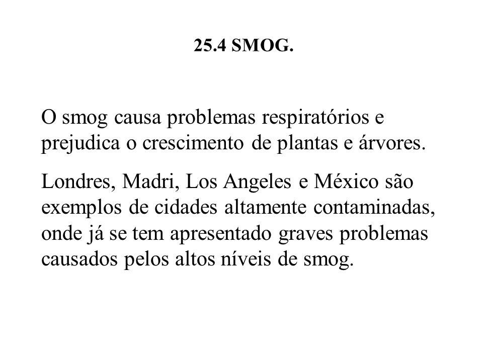 25.4 SMOG. O smog causa problemas respiratórios e prejudica o crescimento de plantas e árvores.