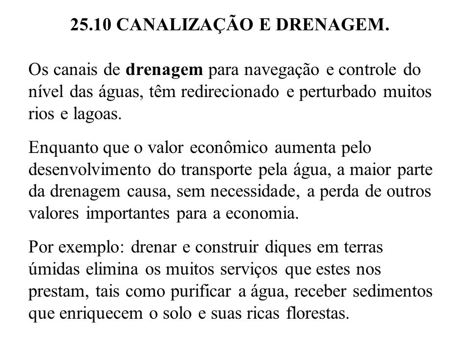 25.10 CANALIZAÇÃO E DRENAGEM.