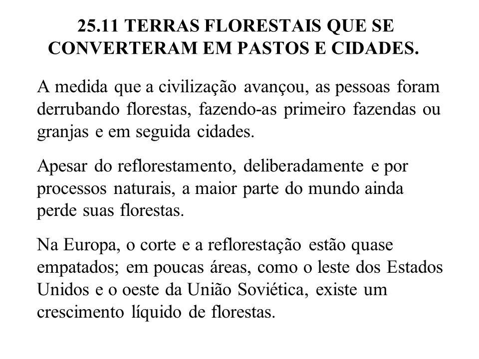 25.11 TERRAS FLORESTAIS QUE SE CONVERTERAM EM PASTOS E CIDADES.