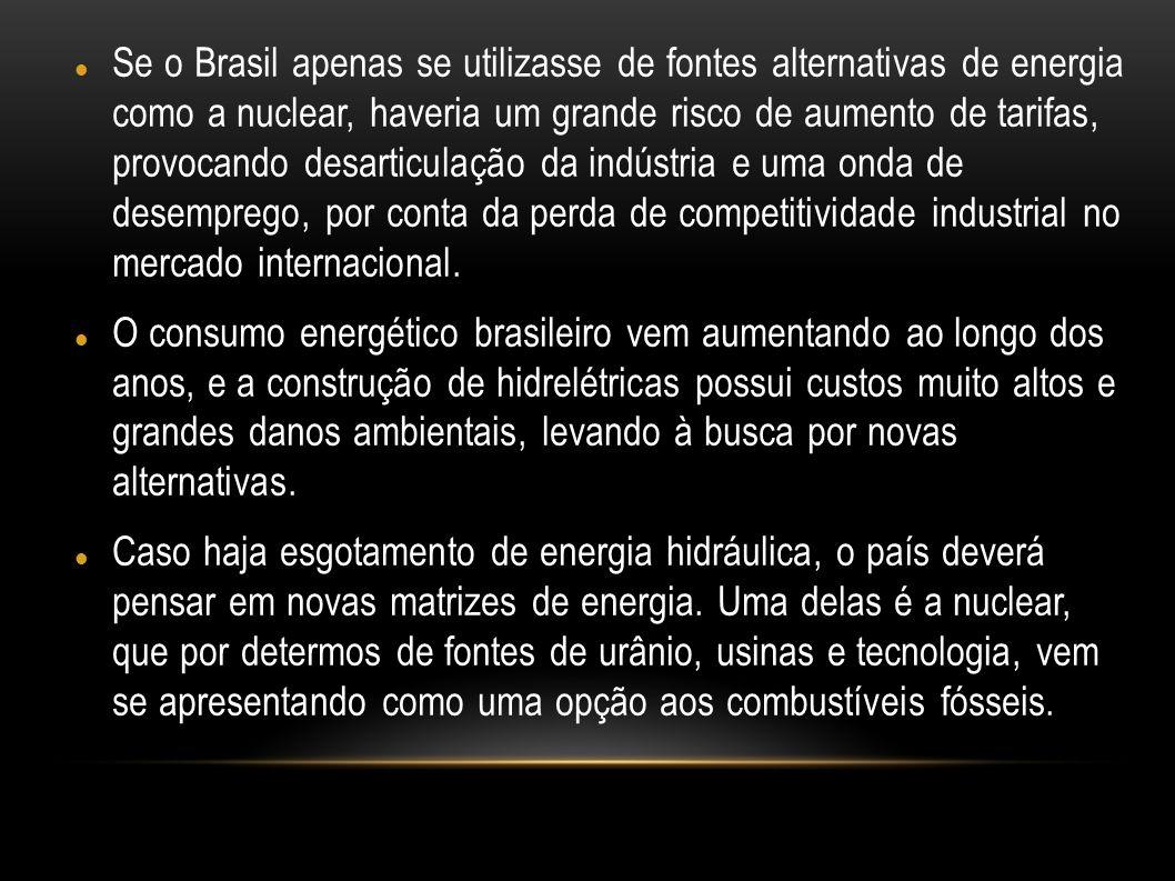 Se o Brasil apenas se utilizasse de fontes alternativas de energia como a nuclear, haveria um grande risco de aumento de tarifas, provocando desarticulação da indústria e uma onda de desemprego, por conta da perda de competitividade industrial no mercado internacional.