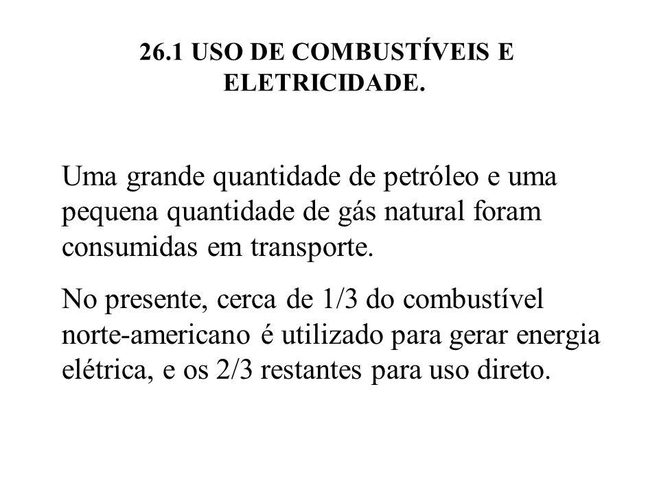 26.1 USO DE COMBUSTÍVEIS E ELETRICIDADE.