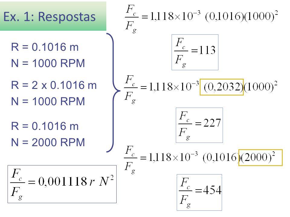 Ex. 1: Respostas R = 0.1016 m N = 1000 RPM R = 2 x 0.1016 m
