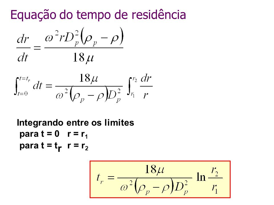 Equação do tempo de residência