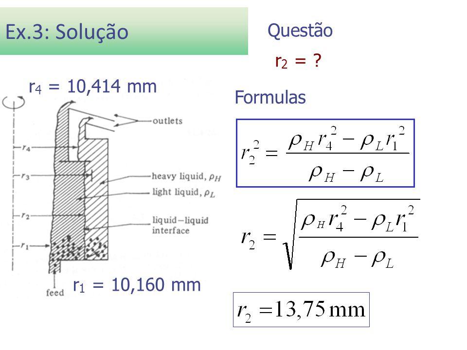Ex.3: Solução Questão r2 = Dados r4 = 10,414 mm Formulas
