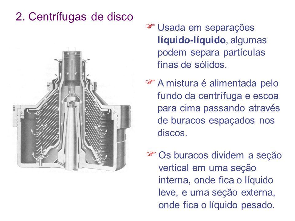 2. Centrífugas de disco Usada em separações líquido-líquido, algumas podem separa partículas finas de sólidos.