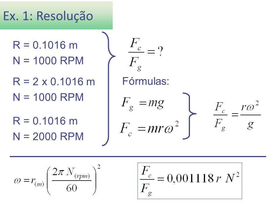 Ex. 1: Resolução R = 0.1016 m N = 1000 RPM R = 2 x 0.1016 m Fórmulas:
