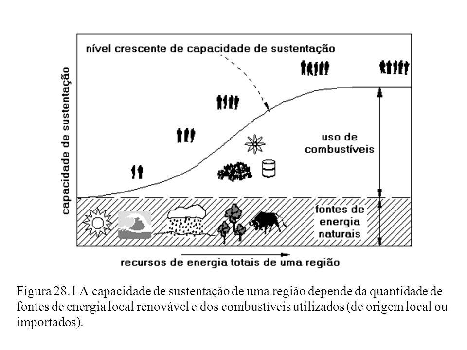 Figura 28.1 A capacidade de sustentação de uma região depende da quantidade de fontes de energia local renovável e dos combustíveis utilizados (de origem local ou importados).