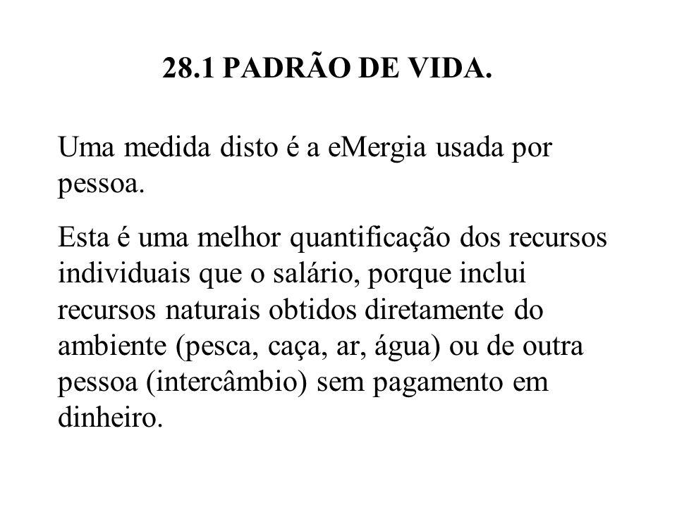 28.1 PADRÃO DE VIDA. Uma medida disto é a eMergia usada por pessoa.