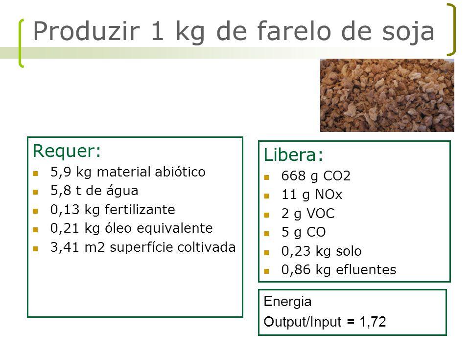 Produzir 1 kg de farelo de soja
