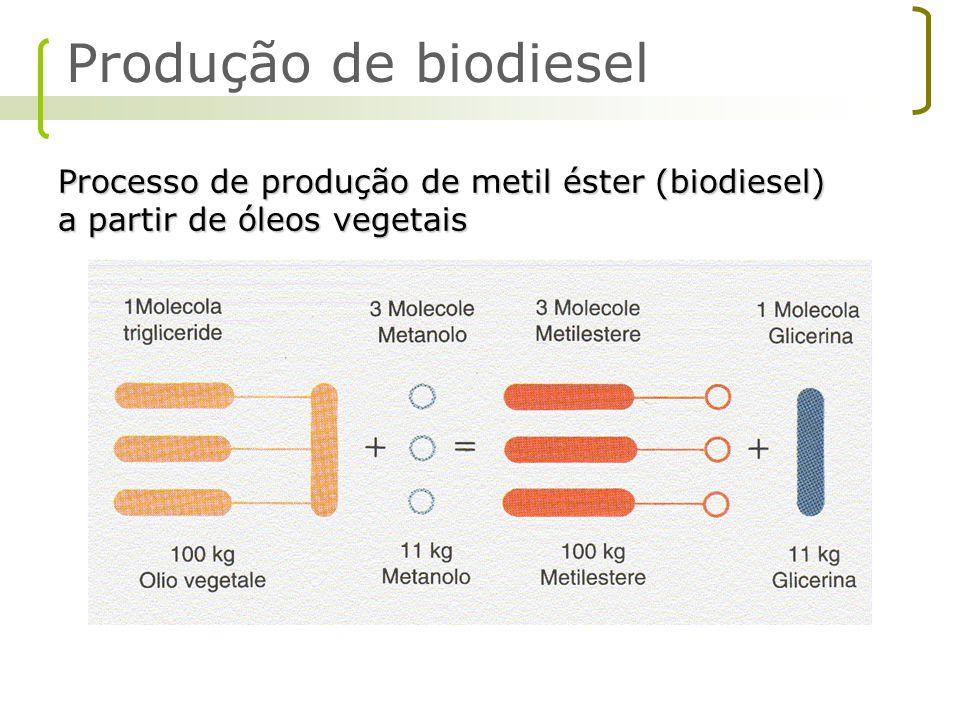 Produção de biodiesel Processo de produção de metil éster (biodiesel) a partir de óleos vegetais