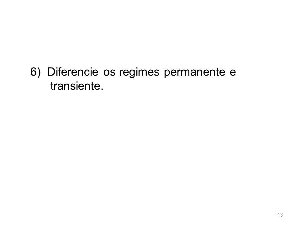 6) Diferencie os regimes permanente e transiente.
