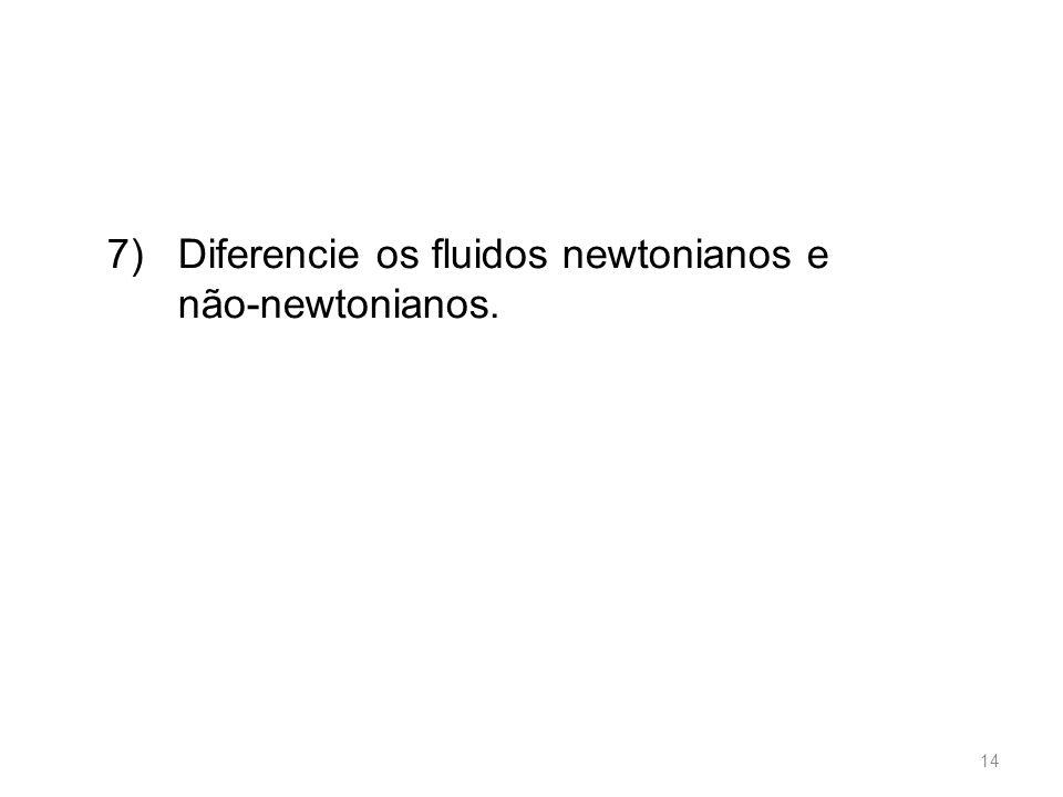 7) Diferencie os fluidos newtonianos e não-newtonianos.