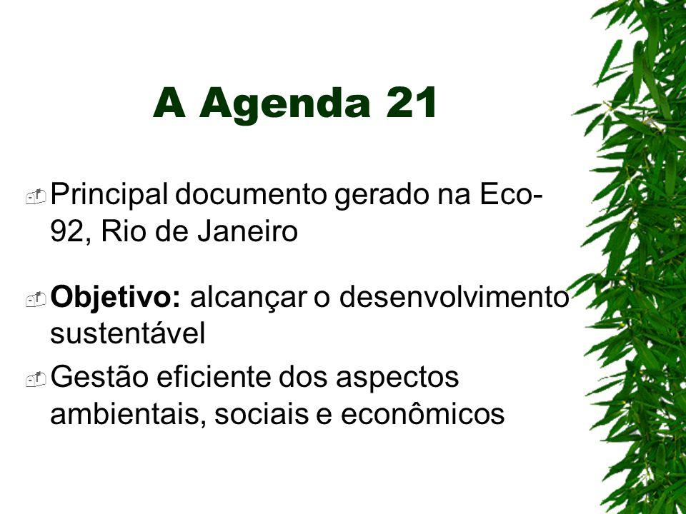 A Agenda 21 Principal documento gerado na Eco-92, Rio de Janeiro