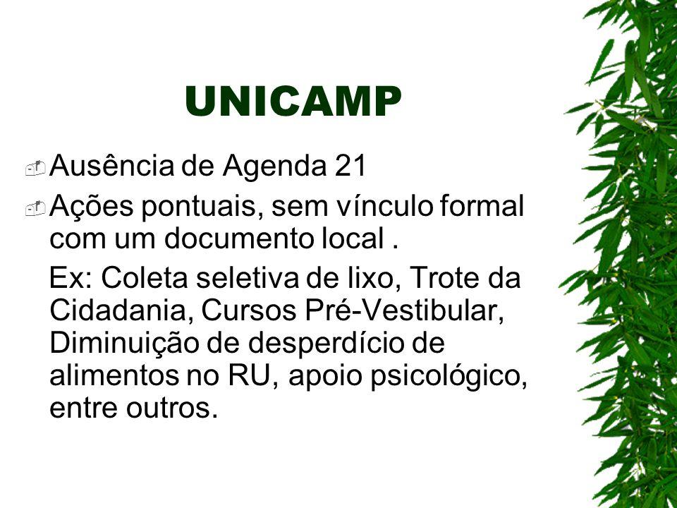 UNICAMP Ausência de Agenda 21