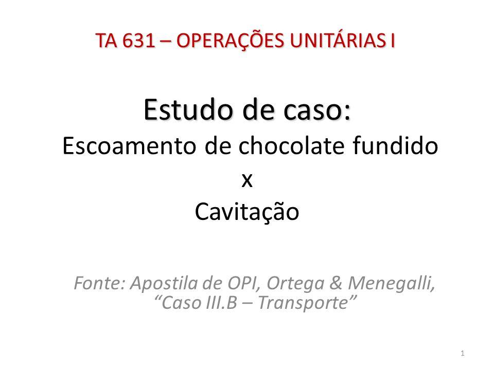 Estudo de caso: Escoamento de chocolate fundido x Cavitação